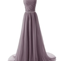 Dressystar Beaded Straps Bridesmaid Prom Dresses with Sparkling Embellished Waist Size 2 Blue