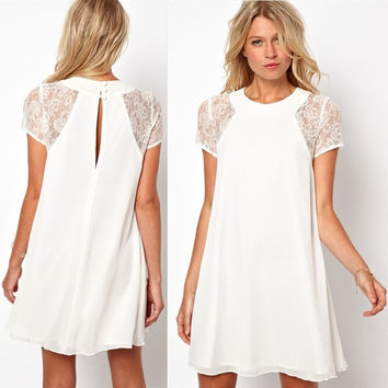 spring summer new women clothing lace short sleeve white back chiffon sexy casual dress (US Size,1TA) = 5739070401