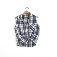 Vintage Plaid Sleeveless Shirt. Button Up Tank Top. Collared shirt. Gray and white.