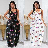 2020 new arrival women's sexy fashion butterfly print dress