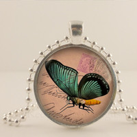 Dark Green stamp Butterfly glass and metal Pendant necklace Jewelry.