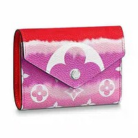 elainse29 LV Wallet Louis Vuitton Wallet 6 card slots Square Type Wallet Red+Rose red