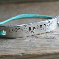 Friendship Bracelet One HAPPY Hand Stamped Quote With Lobster Clasp Hemp Cord Couples Bracelet Jewelry Custom Personalized