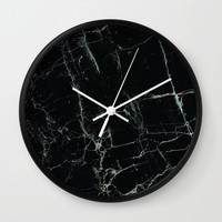 Marble Wall Clock Black Marble Clock Marble Office Decor Clock Modern Office Wall Clock Mens Office Decor Black Marble Print