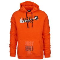NIKE JDI CLUB PULLOVER JUST DO IT Autumn And Winter New Fashion Letter Hook Print Hooded Long Sleeve Sweater Orange