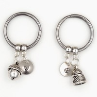 Peter Pan Kiss Acorn and Thimble Couples Keychains with Hand Stamped Initials (Set of 2)