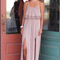 Double Slit Maxi Dress {Mocha}