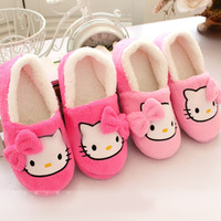 Winter Women Slippers with heels Cartoon Cotton Slippers Indoor Home female Shoes  Plush Loafers  sandals fenty slides