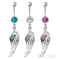 Crystal Feather Wing Inlay Hollow Dangle Piercing Belly Button Navel Ring