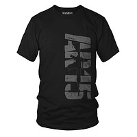 Big AR-15 Assault Rifle Subdued Distressed Black Men T-Shirt