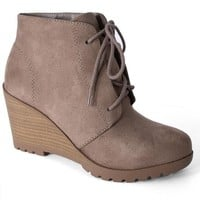 Taupe Flynn Lace-Up Wedge Booties