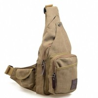 Zebella Men's Canvas Cross Body Chest Pack Hiking Cycling Bicycle Bag