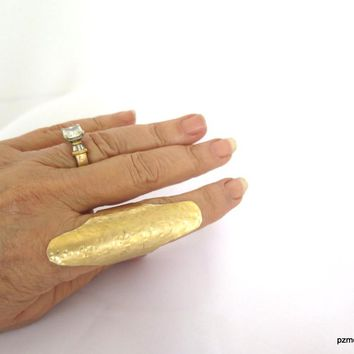 Adjustable Long Gold Finger Shield Ring, Very Long Gold Shield Ring, Gift For Her