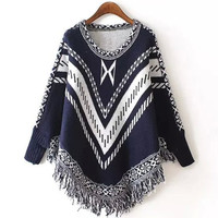 Navy Fall Fashion Poncho Sweater