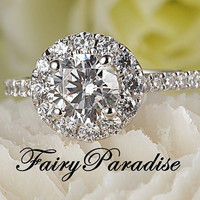 1 Carat Round Cut Halo Engagement Ring, Man Made Diamond, 925 Silver Promise Rings for her, Free Ring Box- made to order ( FairyParadise )