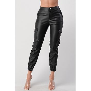 sia faux leather cargo pants