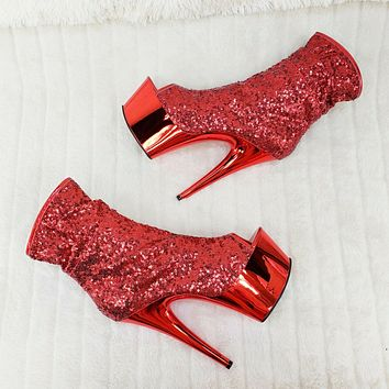 """Adore 1008SQ Red Sequin Ankle Boot 7"""" Chrome Platform Stiletto Heel Shoe Size 11"""