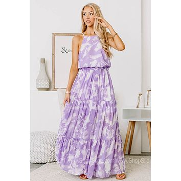 Head In The Clouds Woven Tiered Maxi Dress | Lavender