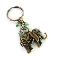 Sacred Elephant Keychain Bag Charm Yoga Accessories Green Good Luck Party Favors Unique Gift For Her Birthday Under 20 Item G43