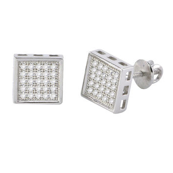 Screw Back Stud Earrings Sterling Silver Pave CZ Cubic Zirconia 8mm Square