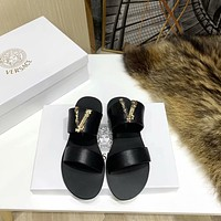 Versace Popular Summer Women's Flats Men Slipper Sandals Shoes