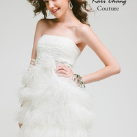 KC14216 Flapper Cocktail Dress in White Ostrich Feathers Amelia Collection by Kari Chang Couture