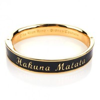 Gold Plated Black Enamel Hakuna Matata Lion King Bangle From Disney Couture : TruffleShuffle.com