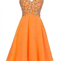 MISSYDRESS Chiffon with Jewel Beading Orange Mini Cocktail Short Prom Dress17