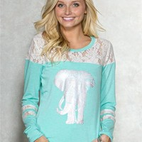Elephant Lace Graphic Top