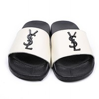 YSL Trending Women Stylish Metal Letter Logo Sandal Slipper Shoes White I12236-1