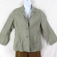 J Jill Jacket M size Military Olive Green Womens Linen Embroidered Casual Beachy