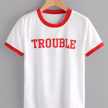 TROUBLE Women ringer Tee red Letter Printed t shirt fashion cotton clothing Tumblr shirts Graphic t-shirt Top Pullovers