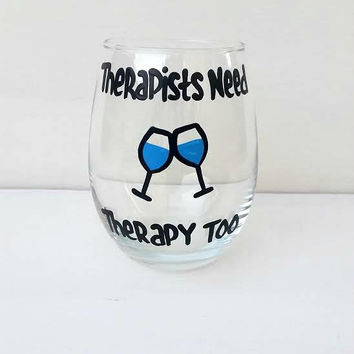 Therapist hand-painted stemless wine glass