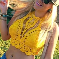Sexy Hollow Out Lace Crochet Bustier Crop Tops Tees Bra Top Knitted Bikini
