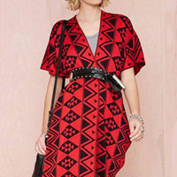 Red Paisley Slit Knitted Cardigan