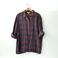 90s silk shirt. plaid silk blouse. oversized silk shirt.