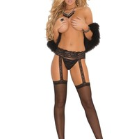 Sheer thigh hi with lace garter belt Black