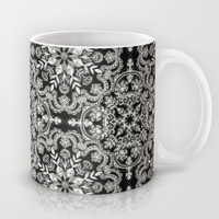 Black & White Folk Art Pattern Mug by Micklyn