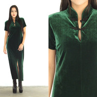 Vintage VELVET Green QIPAO Cheongsam Ethnic Maxi Dress // Front Slit Collar Chinese // Hipster Grunge Hippie Boho // XS Extra Small / Small