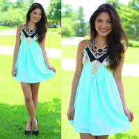 Hint Of Sparkle Dress in Mint