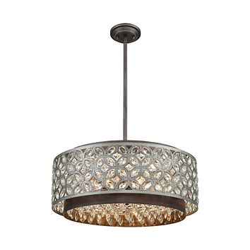 Rosslyn 6-Light Chandelier in Weathered Zinc and Matte Silver with Crystal and Metalwork Shade