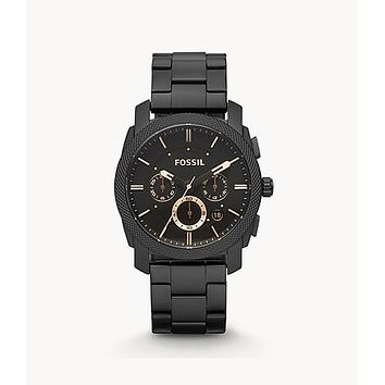 Machine Mid-Size Chronograph Stainless Steel Watch, Black | Fossil®