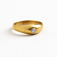 Antique Victorian 14k Yellow Gold Gypsy Set Diamond Ring - Size 3/4 Midi Knuckle Pinky Child's Old Mine Cut Diamond Fine Jewelry