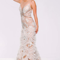 White Sheer Neckline Long Dres 41592