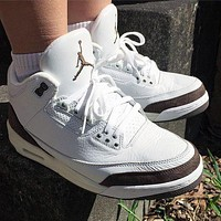 Nike AIR Jordan AJ3 high top basketball shoes men's and women's fashion casual sports shoes white brown