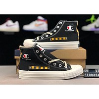 Champion joint name Stussy street fashion men and women high canvas sports shoes Black