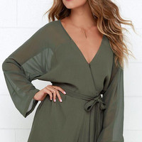 V-neck Long Sleeve Chiffon See Through Romper With Belt
