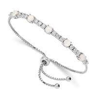Sterling Silver White Created Opal And CZ Adjustable Bolo Bracelet