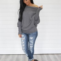 Stormy Hues Top - Charcoal