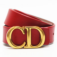Dior Tide brand simple men and women models CD letter buckle belt Red